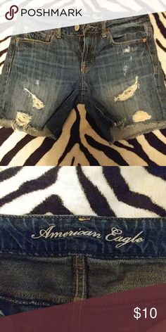 American eagle jeans, Super cute American eagle denim jeans shorts, with a fashion statement! LOVE THEM!! American Eagle Outfitters Shorts Jean Shorts