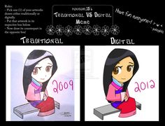 Chibi Mulan | Mulan Chibi - Traditional VS Digital by toadstoolteaparty