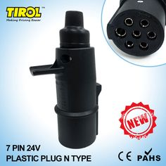TIROL Black 7 Pin 24V Trailer Plug N Type Wiring Connector Tow Bar Towing Socket Plug T23412b