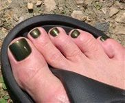 Army Green, Dark Green and Dark Olive with Gold Shimmer Nail polish