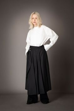 2021-22 A/W 003, 140/2 Broadcloth Quilted Dress Shirt FRC-B03-002, Stretch Twill Pleated Wrap Skirt FRC-S01-502, Vintage Finished Double Georgette Slit Baggy Pants FRC-P03-500 High Waisted Skirt, Shirt Dress, Skirts, Pants, Clothes, Collection, Vintage, Dresses, Fashion