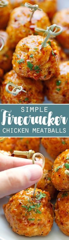 Firecracker Chicken Meatballs - These meatballs are made with chicken and taste like firecracker chicken! Easy to prepare and ready in about 30 minutes! via Little Spice Jar (delicious chicken recipes spice jars) Fingerfood Recipes, Appetizer Recipes, Gluten Free Appetizers, Chicken Appetizers, Party Recipes, Dinner Recipes, Snacks Für Party, Appetizers For Party, Parties Food