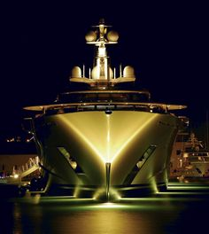 Pelorus at night. Notice its wide beam. Gorgeous super yacht!