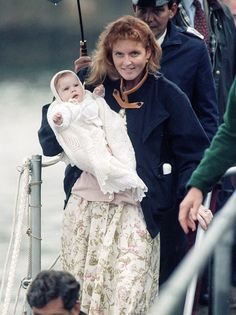 August 12, 1990--Sarah Duchess of York with Princess Eugenie after visiting The Queen Mother at The Castle of Mey boards the Royal Yacht Britannia at Scrabster...