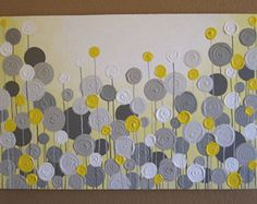 Yellow, Gray, and White Textured Flower Art Acrylic Painting on Canvas -- READY TO SHIP This item is not made to order...it is painted, varnished, and ships within 3-5 business days. Size: 24x30 Depth: 1.5 Color: Several sunny shades of yellow, a little goldenrod, and a bit of mustard make this a bright, happy, modern garden. Grays range from neutral to slightly warm in tone to coordinate with a variety of décor. Edges: This canvas is gallery wrapped and painted dark grey on all the edges…