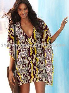caftanes de gasa playa de las mujeres, la túnica de la moda playa, blusa