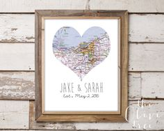 Heart Map Art Printable Custom by TheOliveTreeDesigns