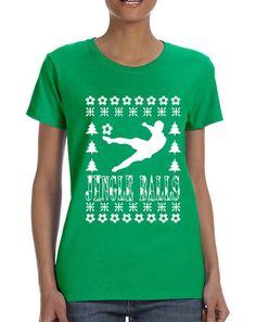 dacd9a8859be4 Women s T Shirt Jingle Balls Soccer Ugly Xmas Sport Fans Gift Idea