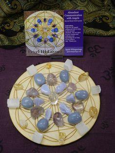 Abundant Communication with Angels Crystal Grid on Large Wood Grid