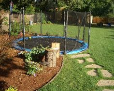 safe trampoline ... Will be difficult in our yard with all the rocks but I like the idea!