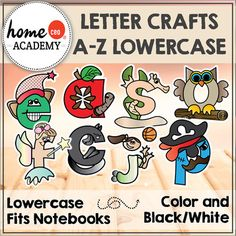 Alphabet: Guaranteed classroom winner! Kids love! Super cute cut and paste alphabet characters in Color and Black and White. See also the uppercase version here.