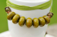Necklace - handmade lampwork hollow glass beads, green ribbon, summer, tree, green, olive green, moss, coconut, horn