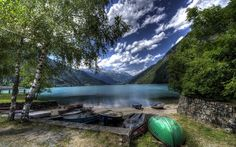 beautiful lake, boats, mountains, Alps mountain landscape, Switzerland, Lake Poschiavo, hdr