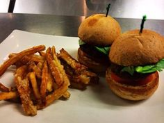 Cafe Sunflower, vegan and vegetarian restaurant, Atlanta GA Monday night special at Buckhead: Seitan and Portobello Sliders with Crispy French Fries