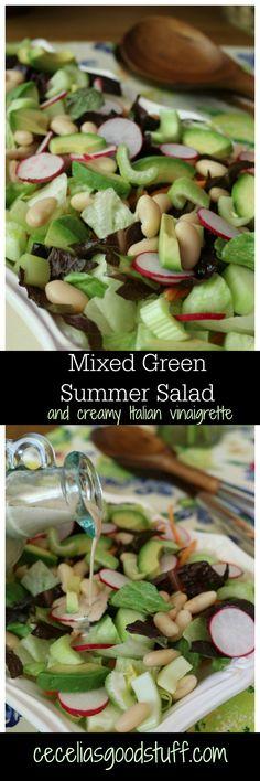 100+ Healthy Salad Recipe Ideas - Mixed Green Summer Salad with Creamy Italian Vinaigrette http://ceceliasgoodstuff.com/mixed-green-summer-salad