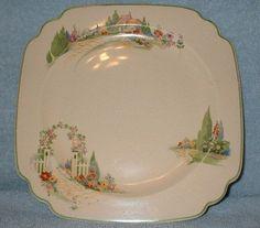 Vintage Homer Laughlin Wells Garden Gate Flower Trellis Arbor 1930s -i have 4 plates from my aunts estate sale