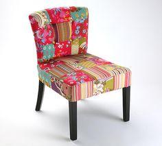 Sillón tapizado algodón patchwork - patas de madera - PATCHBOSSB