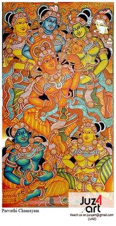 Subject siva parvathi kerala mural painting medium for Asha mural painting guruvayur