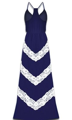 Judith March - Chevron Lace Maxi Dress