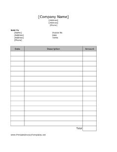 Free printable business invoice template invoice format in excel a very straight forward printable invoice it has room for dates descriptions friedricerecipe Choice Image