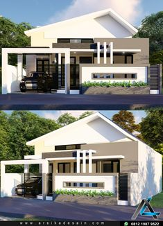 Desain rumah meter R tidur One Storey House, Home Fashion, Canopy, Bungalow, Villa, House Design, Mansions, House Styles, Interior