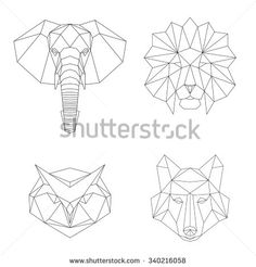 Vector geometric low poly illustrations set. Lion, elephant, wolf and owl animal heads.