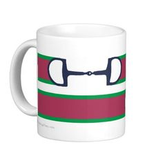 Equestrian Ribbon Bit Pattern Mug - from The Painting Pony - really cute coffee mug for the horse lover! Custom colors available too so you can get it made in your own barn colors if you want. I love the pink and mint color though that it already comes in. This is a classic snaffle bit design I love!