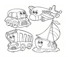 Hot Air Balloon Preschool Coloring Pages Transportation ...