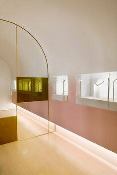 Soft-hued jewellery store designed for owner with love of gold and pink