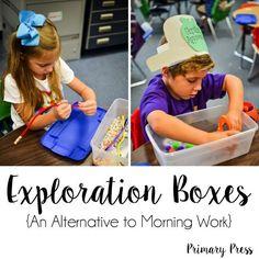 Exploration Boxes {An Alternative to Morning Work} - Primary Press Preschool Centers, Kindergarten Classroom, Classroom Activities, Preschool Ideas, Classroom Ideas, Preschool Curriculum, Motor Activities, Preschool Learning, Therapy Activities