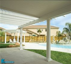 Is your backyard a little too sunny? Or maybe you want to avoid that summer rain shower? America's Dream Koolshade Patio covers can help. With solid panels (100% coverage) or lattice (variable coverage) you determine what areas have what level of protection. Bring new life and usefulness to your backyard or patio!