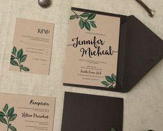 Botanical Leaves Wedding Invitation, watercolor leaf, Rustic Vintage, Rustic, Garden Wedding, Spring Wedding, Wood background, green leaf