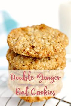 Easy Ginger Cookies using dried ginger and stem ginger in syrup. Oat Cookies, Ginger Cookies, Biscuit Cookies, Biscuit Recipes Uk, Cookie Recipes, Dessert Recipes, Slice And Bake Cookie Recipe, Easy Baking Recipes, Healthy Baking