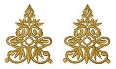 1 Pair Flower Gold Lace Vintage Design DIY Applique Embroidered Sew Iron on Patch GL-001