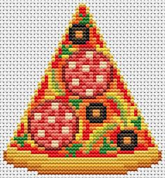 The World In Stitches — Pizza slice cross stitch chart for all x