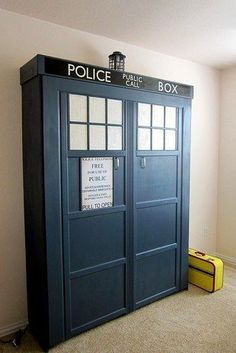 no, NOT in our bedroom ... would detract from your cave (do check out the link to see this unfolded) || Tardis Murphy Bed | 27 Geeky Interior Designs You'll Want To Re-Create
