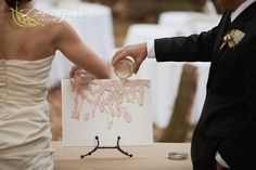 Bride and groom created a unity painting instead of a unity candle during the ceremony.  A great keepsake for after the wedding!