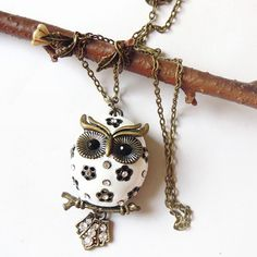 Snow Chubby Owlette Owl Necklace  Antique Bronze by charmming, $25.00