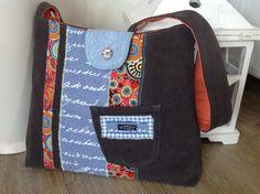 Schultertaschen - Schultertasche BRAUN / ORANGE / BLAU - ein Designerstück von FADENREICH-elt bei DaWanda
