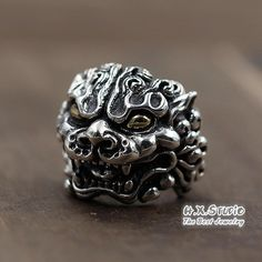 Silver Lion Totem Ring, Silver Flame Lion Ring, Unique Handmade Silver Jewelry, Men's Jewelry, Gift for Him, Wholesale Available