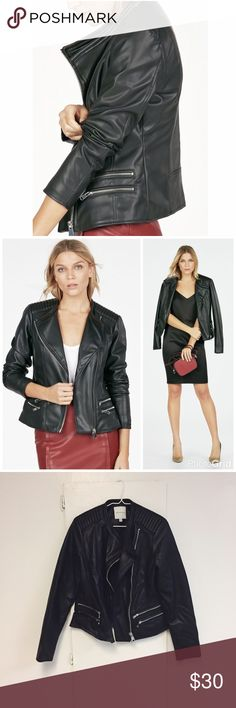 "Faux Leather Moto Jacket NWOT This buttery soft faux leather jacket is the perfect finishing touch to any outfit. Add an edgy cool vibe to all your looks, from dresses to skinny jeans! Silver hardware and moto details.  c o n t e n t Shell : 100% polyurethane  Lining : 100% cotton  c o l o r + black  m e a s u r e m e n t s ✂️ + 17.5"" bust + 22"" length  m e 💄 5'4"" 