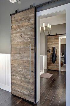 41 Amasing Wood Door Design - Modern Home Design Sliding Door Design, Sliding Wall, Hanging Sliding Doors, Custom Wood Doors, Barnwood Doors, Interior Decorating, Interior Design, Interior Modern, Kitchen Interior