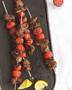 """See the """"Lamb, Tomato, and Mint Kebabs"""" in our Easy Grilling Recipes from Everyday Food gallery Kebab Recipes, Lamb Recipes, Grilling Recipes, Dinner Recipes, Seafood Recipes, Carne Asada, Healthy Cooking, Healthy Recipes, Quick Recipes"""