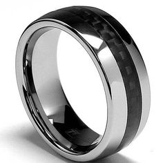 8MM Dome Men's Tungsten Carbide Ring Wedding Band W/ Carbon Fiber Inaly sizes 8 to 12 Metal Masters Co.. $54.99. Genuine Tungsten Carbide (Cobalt Free). Comes with a FREE Ring Box!!. 30-Day Money Back Guarantee. Comfort Fit