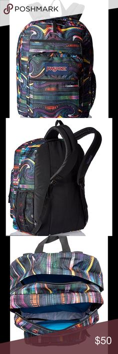 JanSport Big Student Backpack Brand New - Multi Frequency Jan Sport            The JanSport Big Student Pack is the classic JanSport school backpack for students of all ages who carry large loads across campus. Two large main compartments plus organizer and stash pockets make this the bag that gets all your stuff where you need it to Jansport Bags Backpacks