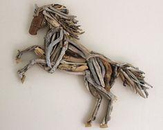 Driftwood Rampant Horse Wooden Art Sculpture by ReclaimedTime