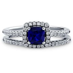 BERRICLE Sterling Silver Cushion Simulated Blue Sapphire CZ Halo... ($49) ❤ liked on Polyvore