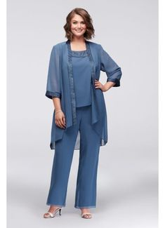 Chiffon Plus Size Pantsuit with High-Low Jacket 25799 Mother Of The Bride Trouser Suits, Mother Of The Bride Fashion, Mother Of The Bride Plus Size, Mother Of The Bride Dresses Long, Gauze Clothing, Flax Clothing, Gown With Jacket, Chiffon Jacket, Jacket Style
