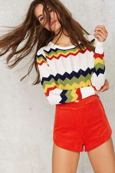 Chevron Chase Cropped Sweater - Sweaters