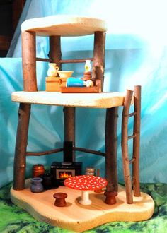 Wooden Dollhouse - Large Fairy Treehouse Style -
